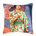 Woman in Kimono with Parasol 18-inch Velour Throw Pillow
