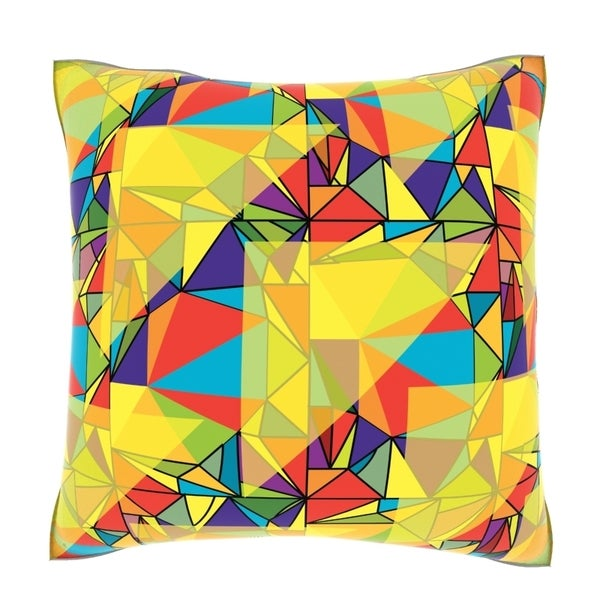 Multicolored Triangles 18-inch Velour Throw Pillow