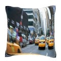 Taxis on the Street in New York City 18-inch Velour Throw Pillow