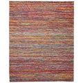 Flatweave Rusa Ruby Red Sari Area Rug (5' x 8')