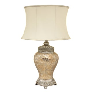 Casa Cortes 'Pearl' Hand-crafted Matte Mosaic Table Lamp