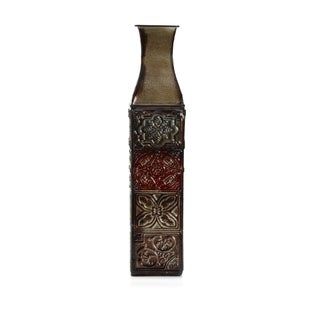 Elements 17-inch 4-color Tile Embossed Iron Decorative Vase