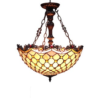 Warehouse of Tiffany Tiffany-style Alyssa 3-light Steel Finish Chandelier
