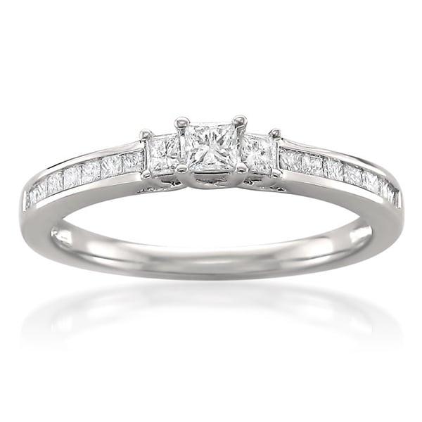 ... White Gold 12ct TDW Princess-cut 3-stone Engagement Ring (H-I, I1-I2