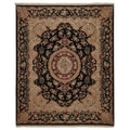 'Floral Kashan' Hand-knotted Wool and Silk Pile Rug (7'9 x 9'9)