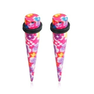 Supreme Jewelry Hot Pink Flower Print Tapers (Pair)