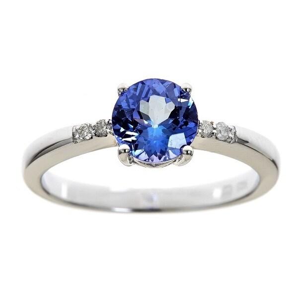 Sterling silver round cut tanzanite and diamond accent fashion ring