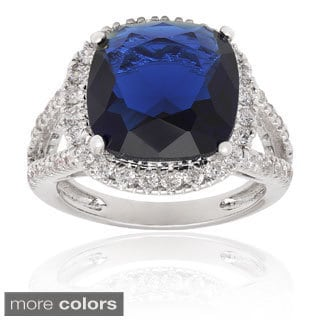 Dolce Giavonna Silverplated Simulated Sapphire or Simulated Emerald Ring