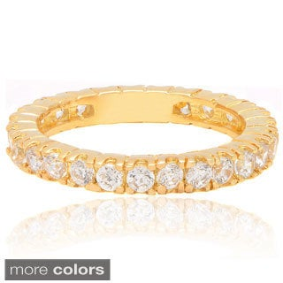 Dolce Giavonna Gold Overlay Glass and Cubic Zirconia Eternity Ring