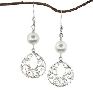 Jewelry by Dawn White Crystal Pearl Fancy Filigree Teardrop Sterling Silver Earrings