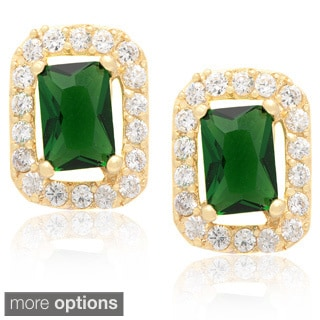 Dolce Giavonna 14k Gold Overlay Cubic Zirconia and Green or Blue Glass Stud Earrings