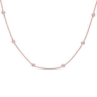 Miadora 14k Rose Gold 3/4ct TDW Diamond-By-the-Yard Necklace (G-H, SI1-SI2)