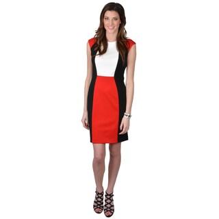 Calvin Klein Women's Color Blocked Cap Sleeve Ponte Dress