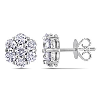Miadora 18k White Gold 1 1/8ct TDW Mult-Stone Diamond Stud Earrings (G-H, SI1-SI2)