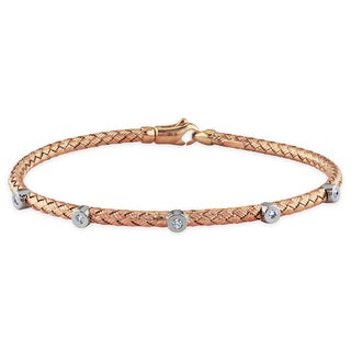 Miadora 14k Rose Gold 1/10ct TDW Diamond Bangle (G-H, VS1-VS2)