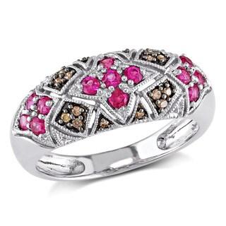 Miadora 10k White Gold Pink Sapphire and Brown Diamond Ring (I1-I2)