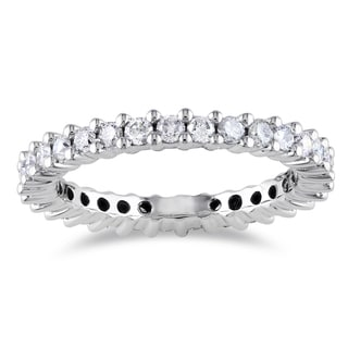 Miadora Signature Collection 14k White Gold 1ct TDW IGL-certified Diamond Eternity Ring (G-H, I1-I2, IGL)