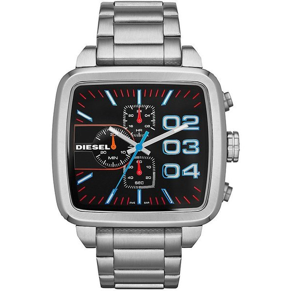 Diesel Men's Square Franchise Silver Watch DZ4301