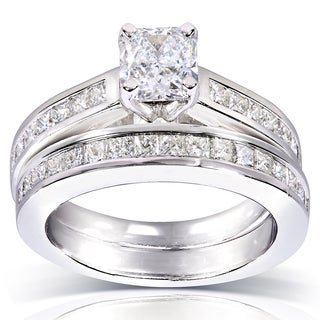 Annello 14k White Gold 2ct TDW Certified Radiant and Princess Diamond 2-piece Bridal Rings Set (E, SI2)
