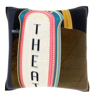 High Section View of a Theater Sign, Chicago Illinois, 18-inch Velour Throw Pillow