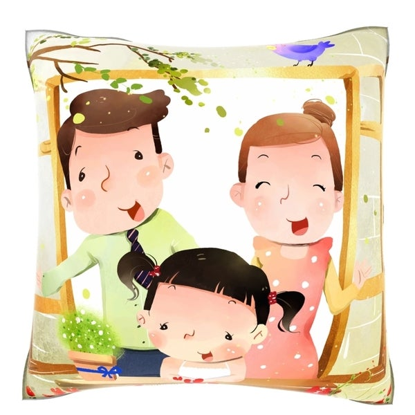 Portrait of Family with One Child at Window 18- inch Velour Throw Pillow