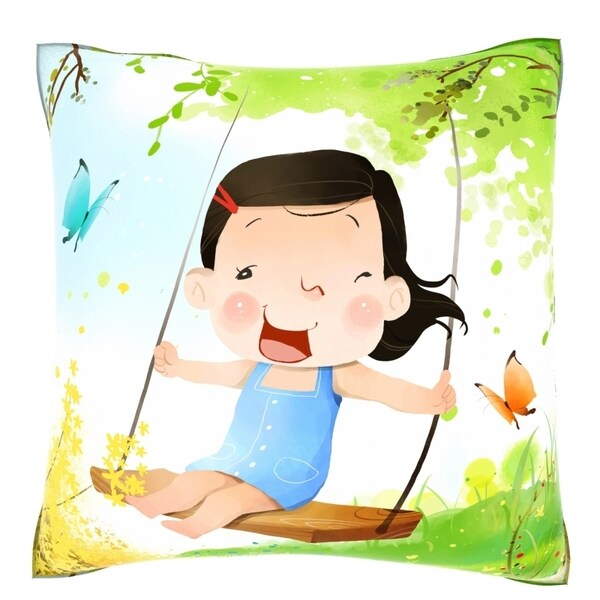 Girl on Swing 18-inch Velour Throw Pillow