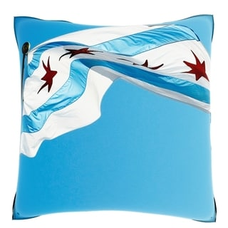 Low Angle View of the Chicago Flag 18-inch Velour Throw Pillow