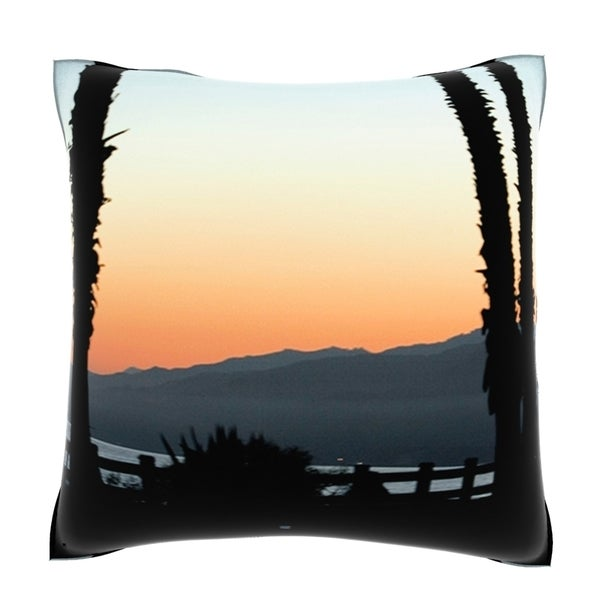 Panoramic View of Santa Monica Beach, California 18-inch Velour Throw Pillow