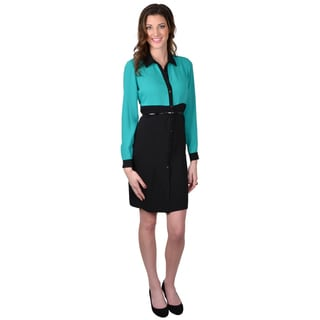 Calvin Klein Women's Long Sleeve Color Blocked Shirt Dress
