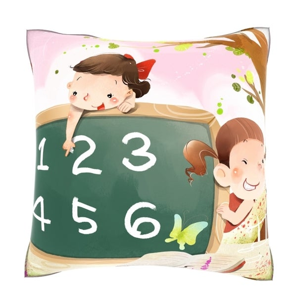 Girls Learning Numerical Value 18-inch Velour Throw Pillow