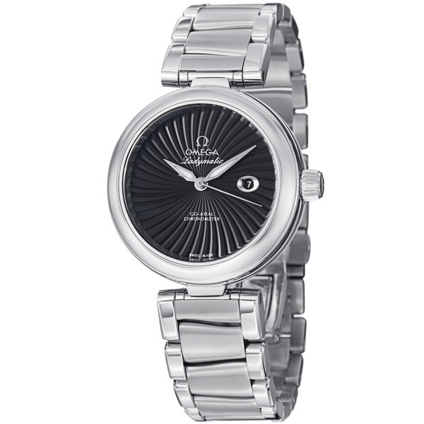 Omega Women's 425.30.34.20.01.001 'DeVille' Black Dial Stainless Steel Bracelet Watch