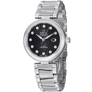Omega Women's 425.30.34.20.51.001 'DeVille' Black Diamond Dial Stainless Steel Watch