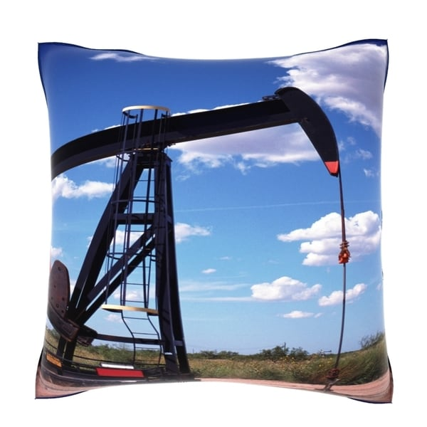Texas Pump Jack in Field 18-inch Velour Throw Pillow