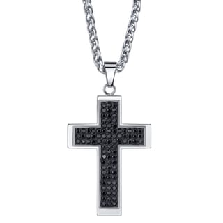 Stainless Steel Men's Black Cubic Zirconia Cross Necklace