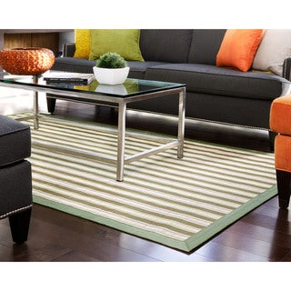 Shore Green/ Light Brown Stripe Rayon from Bamboo Rug (6' x 9')