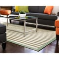 Shore Green/ Light Brown Stripe Bamboo Rug (6' x 9')