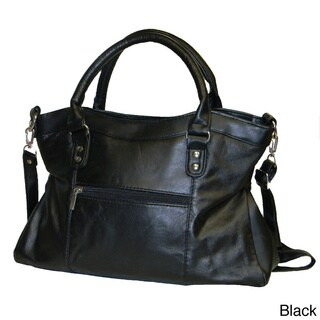 Hollywood Tag Large Leather Double Buckle Satchel