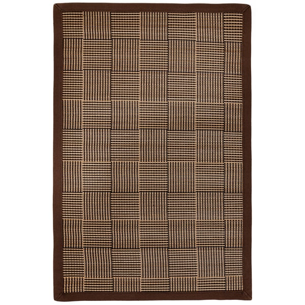 Pazi Brown/ Tan Bamboo Crosshatch Rug (4' x 6')