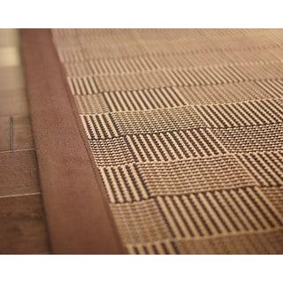 Pazi Brown/ Tan Bamboo Crosshatch Rug (4' x 6')