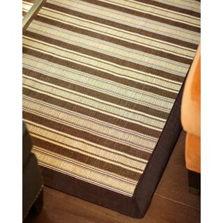 Shore Brown/ Tan Striped Bamboo Rug (6' x 9')