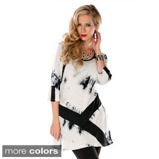 Women's Abstract Print Two-tone Tunic