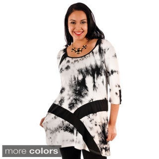 Women's Plus Size Abstract Print Two-tone Tunic