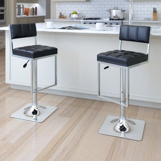 CorLiving Square Black Leatherette Adjustable Bar Stools (Set of 2)