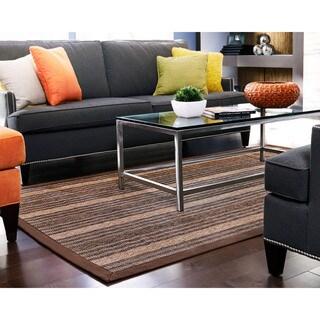 Osi Brown/ Light Brown Stripe Bamboo Rug (7' x 10')