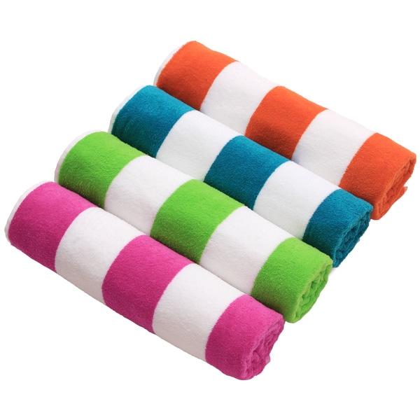 Cabana Stripe Velour Cotton Beach Towel (Set of 4) 12395910