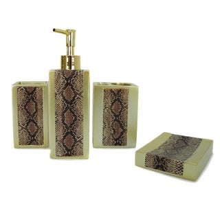 Yellow Snakeskin 4-piece Bath Accessories Set