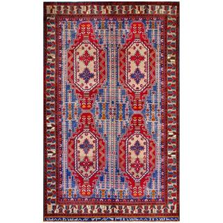 Afghan Hand-knotted Tribal Balouchi Light Blue/ Red Wool Rug (5'2 x 8'7)