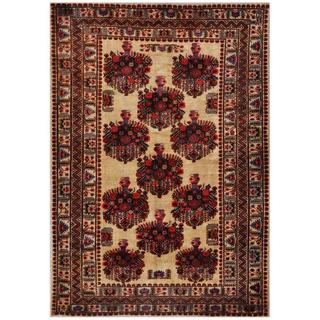 Afghan Hand-knotted Tribal Balouchi Tan/ Rust Wool Rug (6'9 x 9'8)