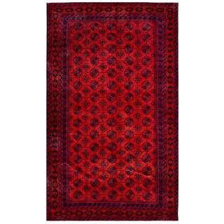 Afghan Hand-knotted Tribal Balouchi Red/ Navy Wool Rug (6'7 x 11'3)