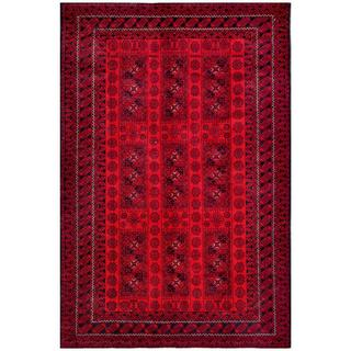 Afghan Hand-knotted Tribal Balouchi Red/ Rust Wool Rug (6'8 x 10'1)
